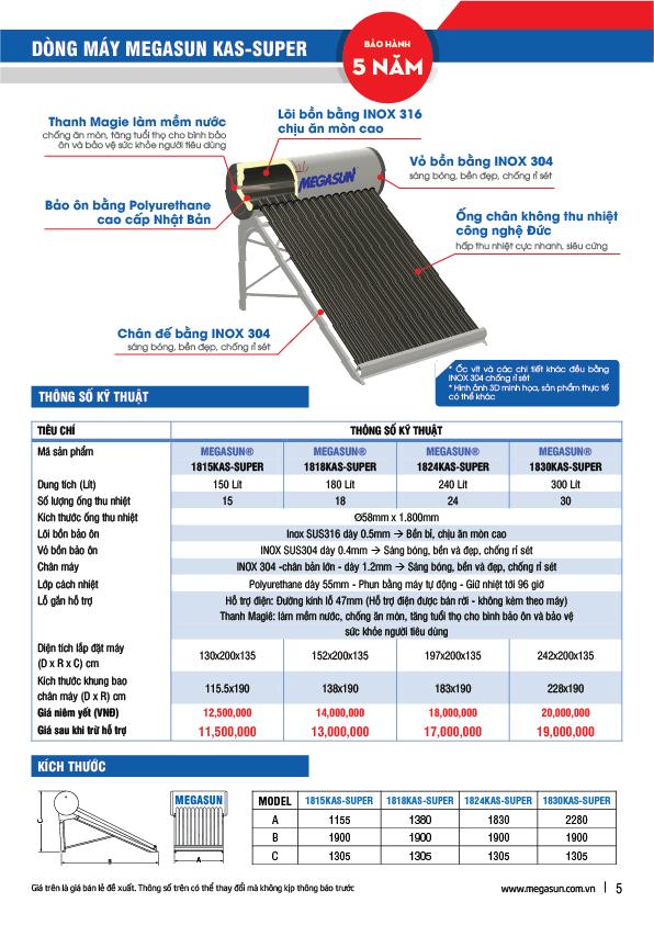 máy nóng năng lượng mặt trời Megasun
